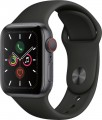 Apple - Apple Watch Series 5 (GPS + Cellular) 40mm Space Gray Aluminum Case with Black Sport Band - Space Gray Aluminum (Unlocked)